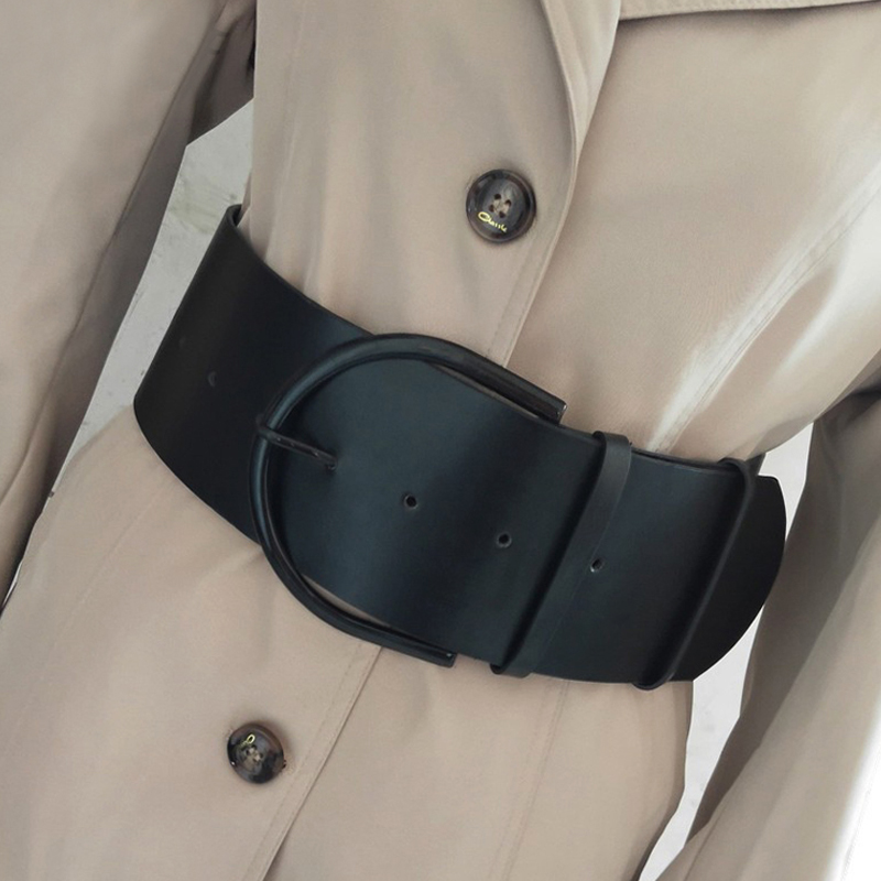 Fashion Classic Round Buckle Ladies Wide Leather Belt Women's Design High Quality Female Casual Leather Belts For Coat Dress