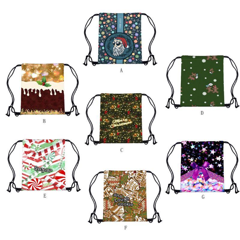 Portable Women Christmas Backpack Print Shopping Bags Drawstring Travel Bag F42A