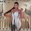 Женский эластичный комбинезон Kliou, эластичный комбинезон с принтом под змеиную кожу, открытая спина, высокая талия, Клубная одежда, уличная ...