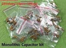 18 значений * 10 шт. = 180 шт. комплект монолитных конденсаторов 20 пФ ~ 1 мкФ 5,08 мм упаковка 15 пФ 20 пФ 30 ПФ 101 ПФ 102 103 104 105 471 набор в ассортименте