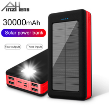 PINZHENG 30000mAh Solar Power Bank For Xiaomi Mi Lighting Type C Portable Charging External