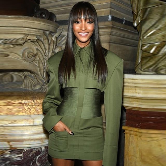 HIGH STREET 2020 Newest Stylish Designer Dress Womens Long Sleeve Slim Fitting Pockets Army Green Sheath Mini Dress