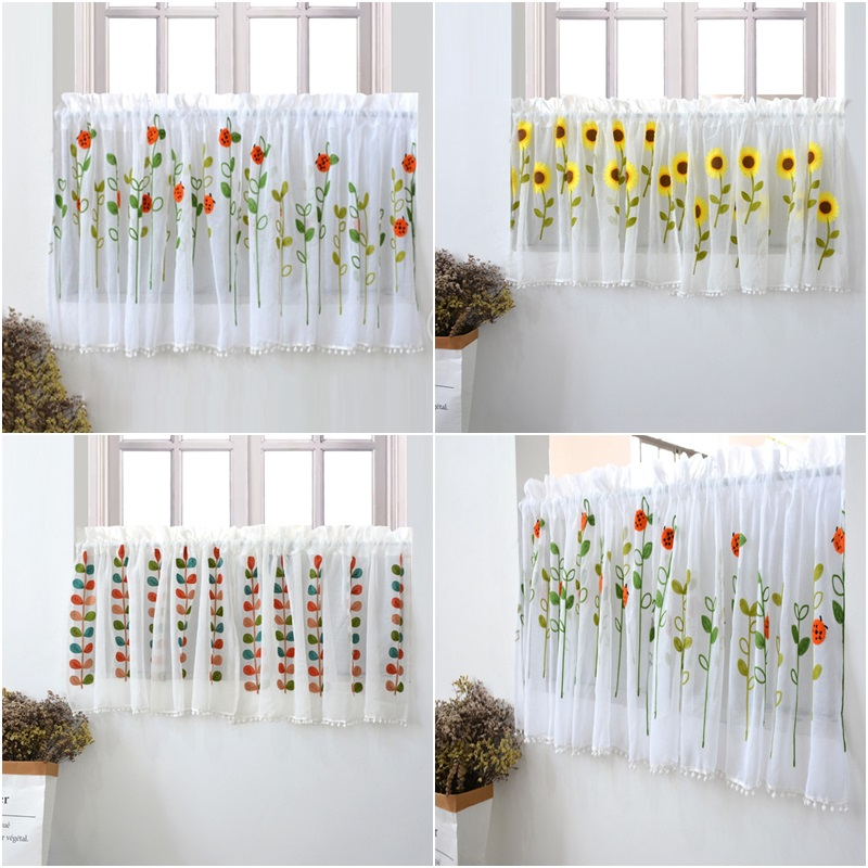 1Pc Rod Pocket Short Curtains Flower Embroidered Half-Curtain for Kitchen Door Cabinet Drape Cafe Tulle Window Panel Sheer