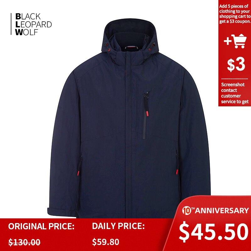 Blackleopardwolf   Men's Jacket Hooded Windbreaker Casual Windproof Male Pluse  Thin Cotton Large Size Waterproof  Coat ZC-6227