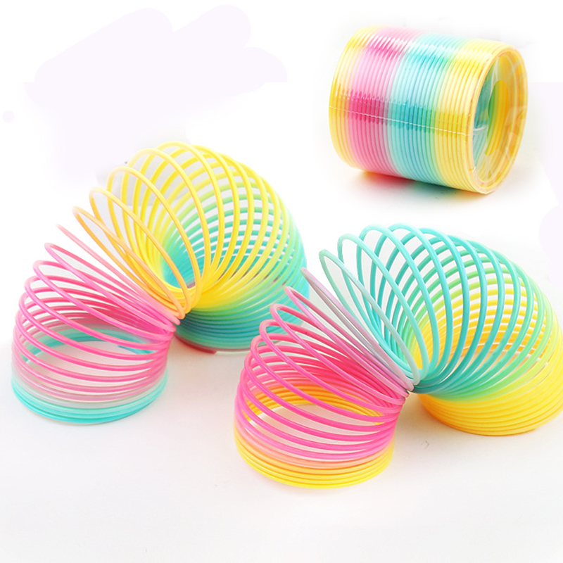 8.5x 9cm Rainbow Circle Funny Toys Early Development Educational Folding Plastic Spring Coil Children's Creative Magical Toys