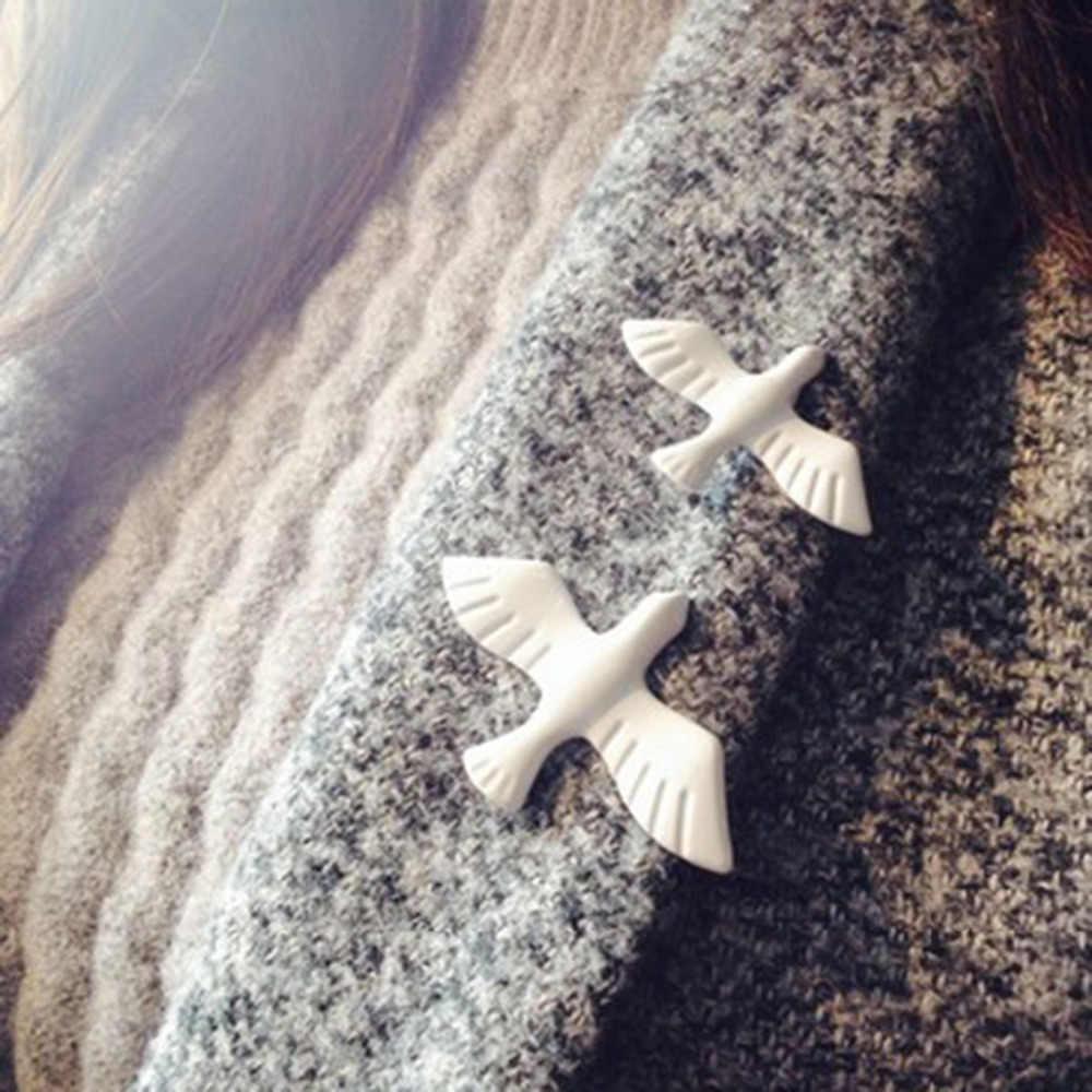 1 Pcs Logam Merpati Putih Bros Bros untuk Wanita Pin dan Bros Fashion Bros Enamel Pin Pin Grosir
