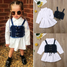 цена на Denim Dress For Girl Baby 2018 New Summer Flower Princess Dress Party Wedding Pageant Dresses Clothes