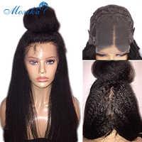 Peluca recta rizada con cierre, pelucas de cabello humano para mujer, prearrancada, 180, con encaje frontal Remy, 30 pulgadas, 4x4, pelucas de encaje de cabello humano