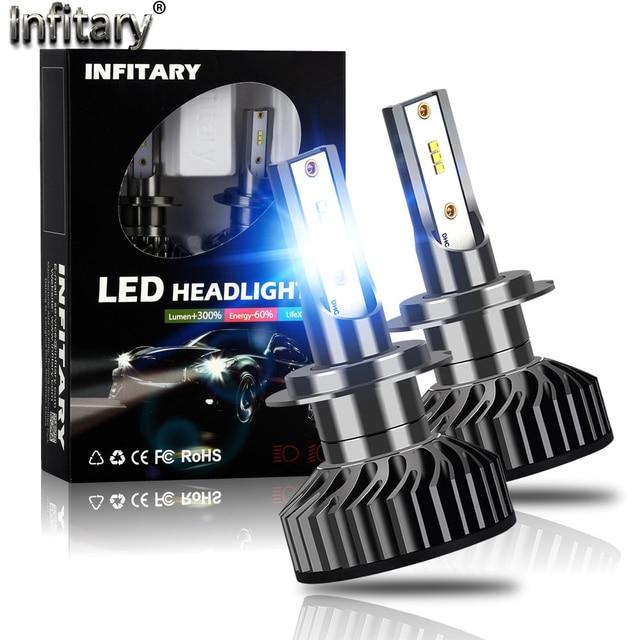 Infitary H4 H7 مصابيح ليد لمصابيح السيارة الأمامية 16000Lm 6500K ZES رقائق السيارات الجليد مصباح للسيارات H1 H3 H11 H13 H27 9005 HB3 HB4 الضباب أضواء