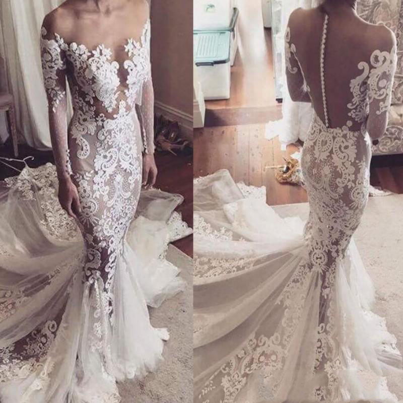 Lace Appliques Draped Ruched Mermaid Wedding Dresses Simple Boat Neck Full Sleeve Backless Bridal Gown Vestido De Noiva