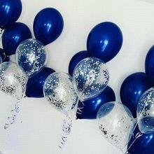 10 pçs/lote 12 polegada prata confetti balão misturado luminoso azul látex balão para festa de aniversário casamento decoração suprimentos