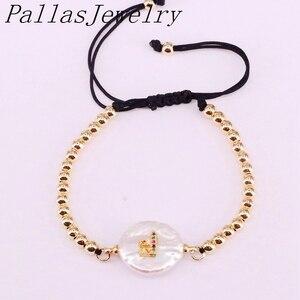 Image 2 - 10 sztuk z pereł słodkowodnych z cz list charm bransoletki, Macrame pleciona miedzi bransoletka z paciorkami Charm regulowany biżuteria