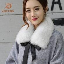 ZDFURS * reale della pelliccia di fox del collare del silenziatore della sciarpa di pelliccia per linverno collo di pelliccia di volpe per cappotto di lana del Cappotto della decorazione bella collare per la ragazza