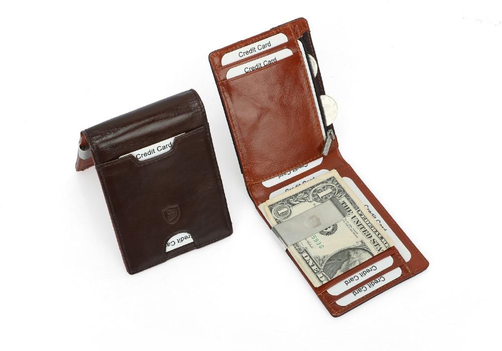 Couro genuíno masculino clipe de dinheiro fino