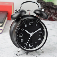 Classic Metal Bell Alarm Clock Table Bedside Non ticking Clocks Bettery OPerated Quartz Movement Alarm Clock with Night Light