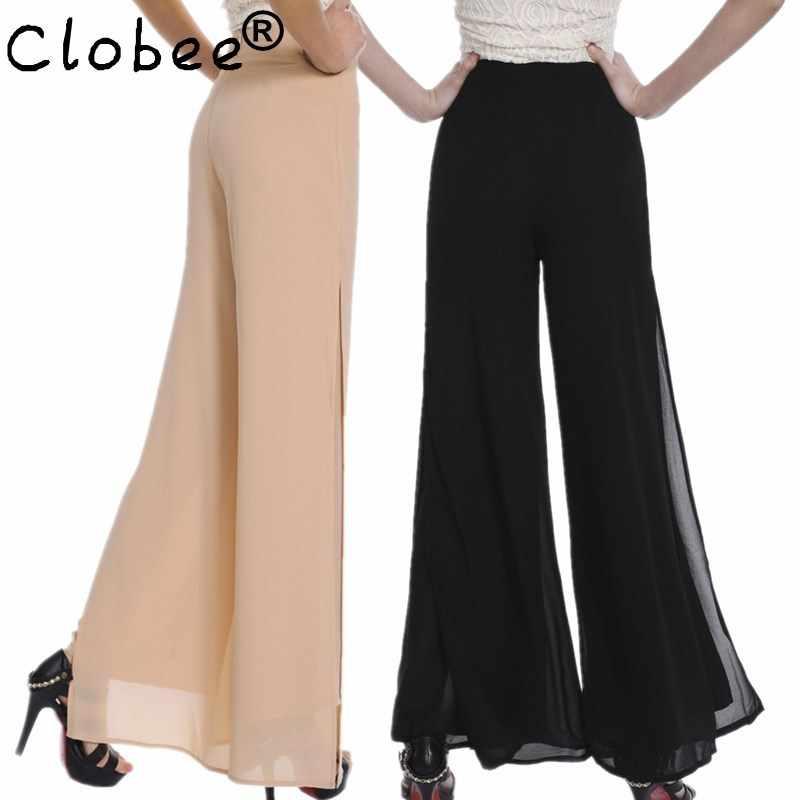 2020 est yaz çift şifon geniş bacak pantolon kadın Vintage gevşek artı boyutu yumuşak dans pantolon çan alt rahat Pantalon femm
