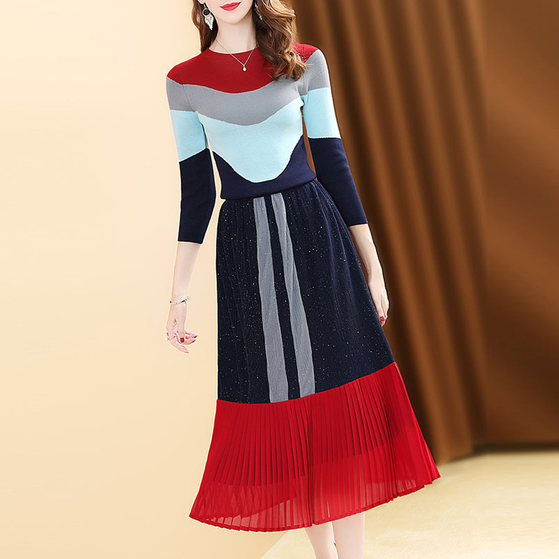 Mixed Colors Stripes Knitted Sweater Dress Outfit Women's 2019 New Style Autumn Western Style Pleated Long Skirts Two-Piece Set