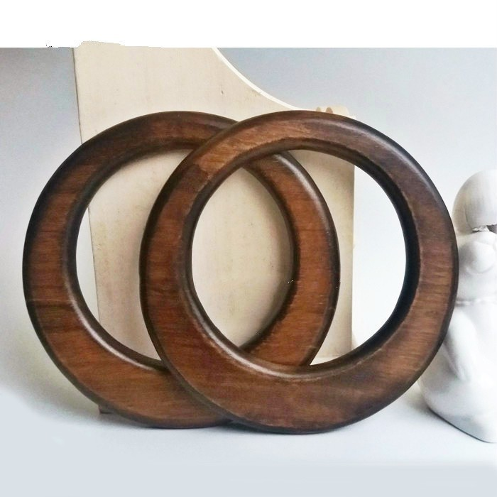 One Pair Wooden Handle Obag DIY Bag Parts And Accessories Round Ring Wood Hanger O Shape Torus Bag Handle Wholesale