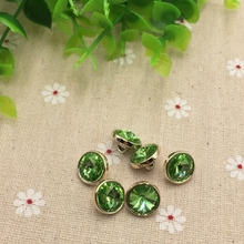 Jeans Button Rhinestone Crystal Green Sewing-Accessories Grass Acrylic 12mm FC502 Knit