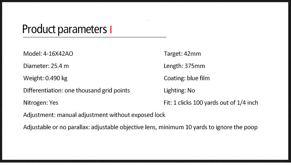 Tático 4-16x42 ao riflescope mil dot retículo