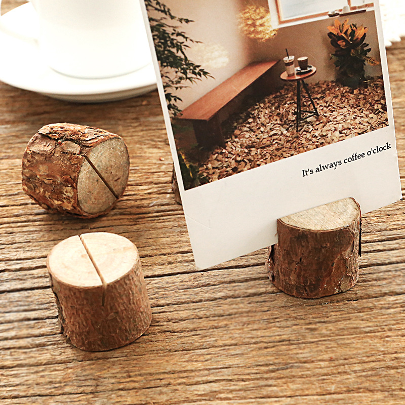 Coloffice Wooden Stump Shape Party Reception Place Card Holder Stand Number Name Table Menu Picture Photo Clip Card Holder,1PC
