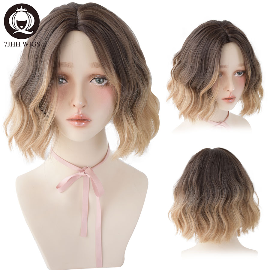 7JHH WIGS Short Curly Lolita Wig With Bangs For Women Deep Wave Hair Omber Brown Black Synthetic Heat Resistant Cosplay Bob Wigs