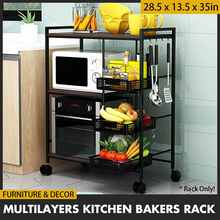 Multifunction Kitchen Trolley Bakers Rack Fruits Baskets Movable Microwave Oven Storage Racks Holder Cutlery Utensils Organizer