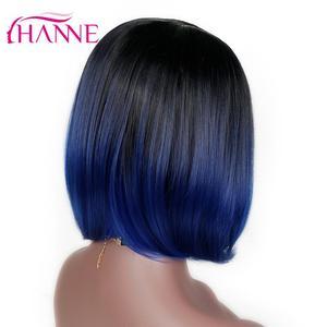 Image 4 - HANNE kısa sentetik peruk Ombre siyah mavi/gri/yeşil/mor Bob peruk yüksek sıcaklık Fiber doğal kadın peruk
