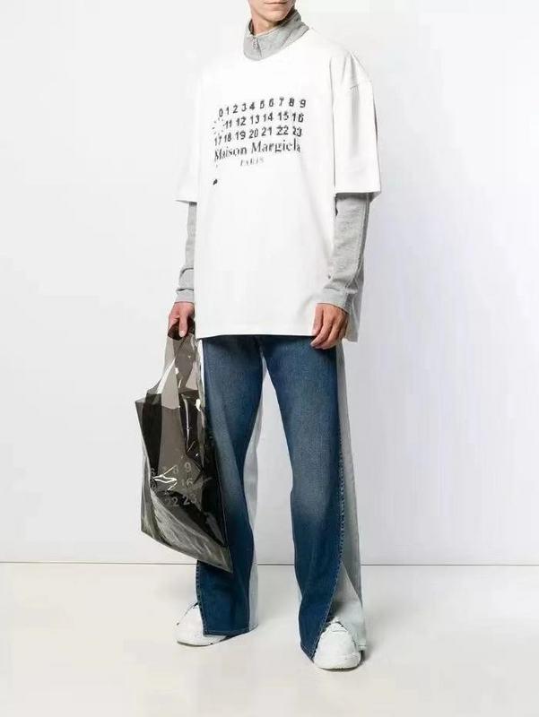 Top Version 1:1 Maison Margiela Paris Oversized Tops Tees Men Women Fuzzy Numbers Printed 100% Cotton White T Shirts Men