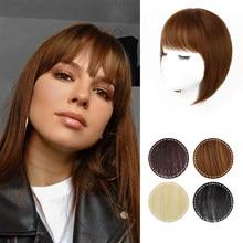 Isaic Light Brown Synthetic Hair Fringe Clip Bangs Clip In Hair Extension 3D Natural Franch Bangs High Temperature Fiber