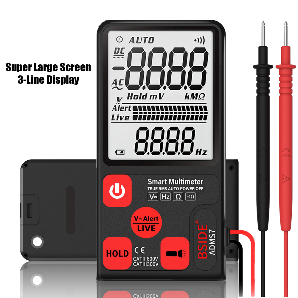 Portable BSIDE ADMS7 Voltage Tester 3.5 Large LCD Digital Multimeter Triple Display Voltmeter DMM with Analog Bargraph|Multimeters| |  - title=
