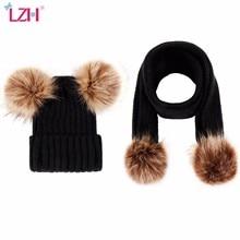 2 peças conjunto de meninas meninos bonito inverno crianças chapéus do bebê manter quente conjunto crianças malha lã pele dupla bola chapéu crochê boné cachecol conjunto