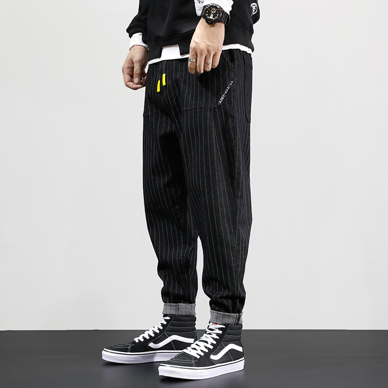 Japanese Style Fashion Men Jeans Black Vintage Stripe Designer Harem Pants Loose Fit Streetwear Hip Hop Jeans Men Pencil Pants