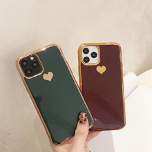 Luxury Electroplated Love Heart Silicone Case For Apple iPhone 11 Pro Max X XR XS Max 8 7 6 6s Plus Soft Phone Cover Coque Etui oneplant electroplated love heart phone case for iphone 11 pro max xr xs x xs max silica gel phone cover for 7 8 6 6s plus