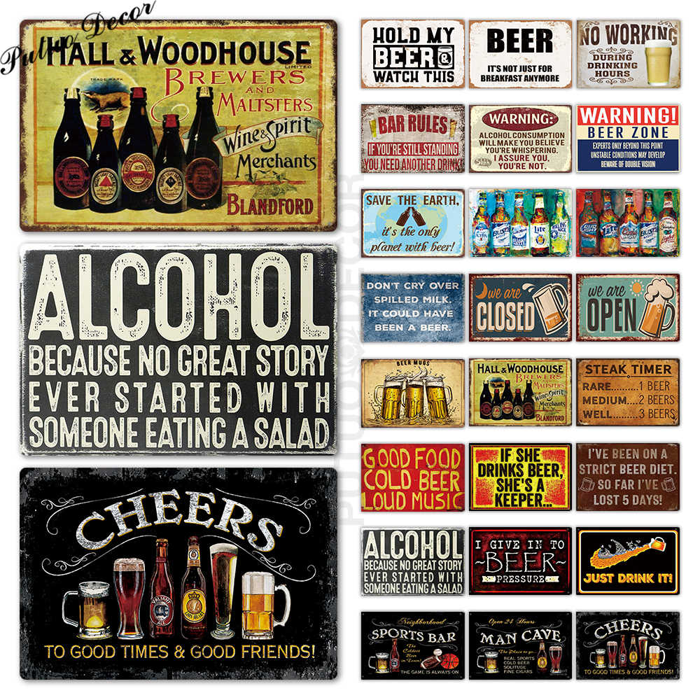 Beer Metal Sign Plaque Metal Vintage Pub FunnyTin Sign Wall Decor for Bar Pub Club Man Cave Tin Plates Vintage Metal Signs