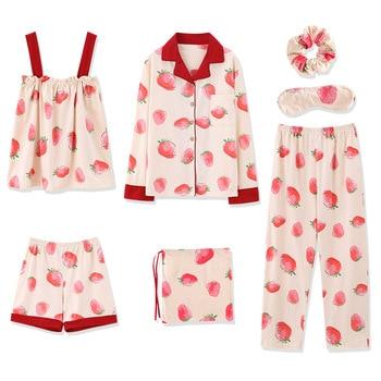 7Pcs/set Women Pajama Set Soft Strawberry Pants Shorts Long Sleeves V Neck Top Sleepwear with Eyes Cover -MX8