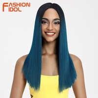 MODE IDOL Haar Synthetische Spitze Front Perücken Gerade Haar 20 Inch Spitze Perücken Für Schwarze Frauen Ombre Blau Rosa Blonde cosplay Perücken