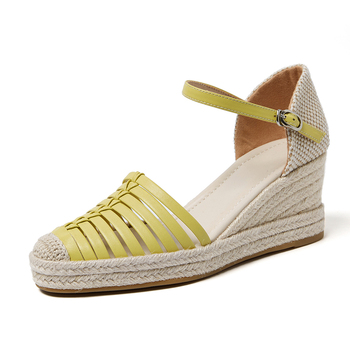 Genuine leather Sandals for Women Wedges High Heel Shoes Beige Yellow Sandalias De Verano Para Mujer