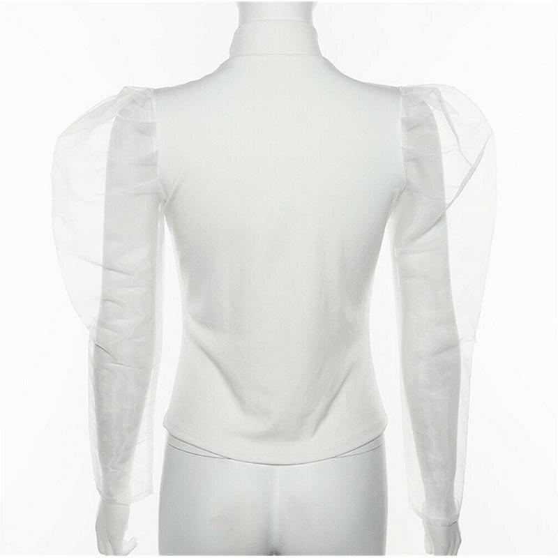 Newly Women Mesh Sheer Sleeve Female Autumn Turtleneck Long Mesh Sleeve Sexy White Tops New 2019 See Through Shirt  Top Tee