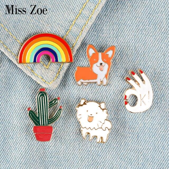 Śmieszne Corgi Rainbow emalia Pins Cartoon psy broszki kaktus OK gest ubrania klapy Pin niestandardowe odznaki torba prezent dla dzieci dziewczyna
