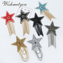 WISHMETYOU Hot Fringed Pentagram Rhinestones Patches For Clothing Handmade Back Glue Patch Decorative Ornaments Accessories New