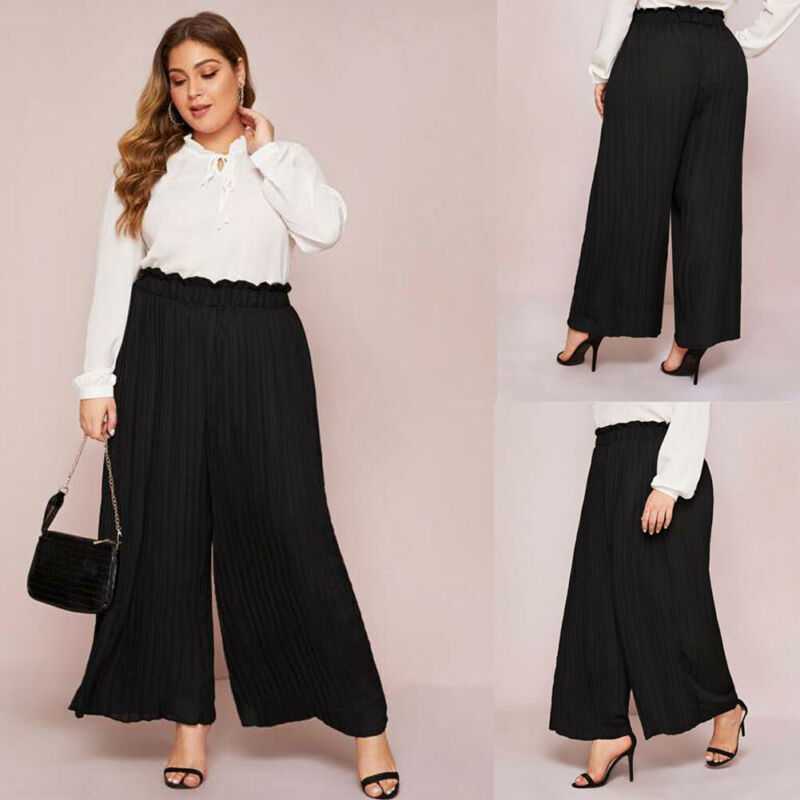 Women's Long Loose Wide Leg Pants Black Chiffon  Ruffles Pleated Culotte Trousers Pants Large Size 5XL