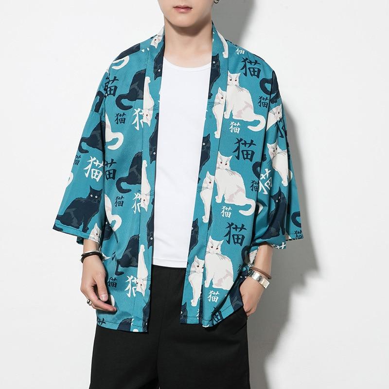 #0568 Summer Full Cat Printed Streetwear Kimono Shirt Men Cardigan Loose Thin Sunscreen Kimono Style Shirts Loose Plus Size 5XL