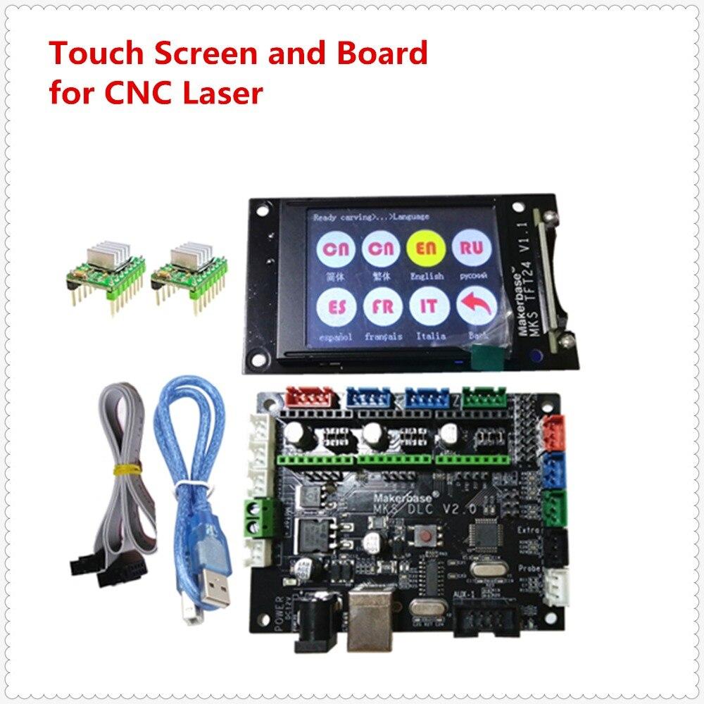 Controlador de plato de expansión CNC sin conexión GRBL 1,1, placa base MKS DLC + pantalla LCD TFT24 CNC, reemplazo de escudo cnc v3 UNO R3