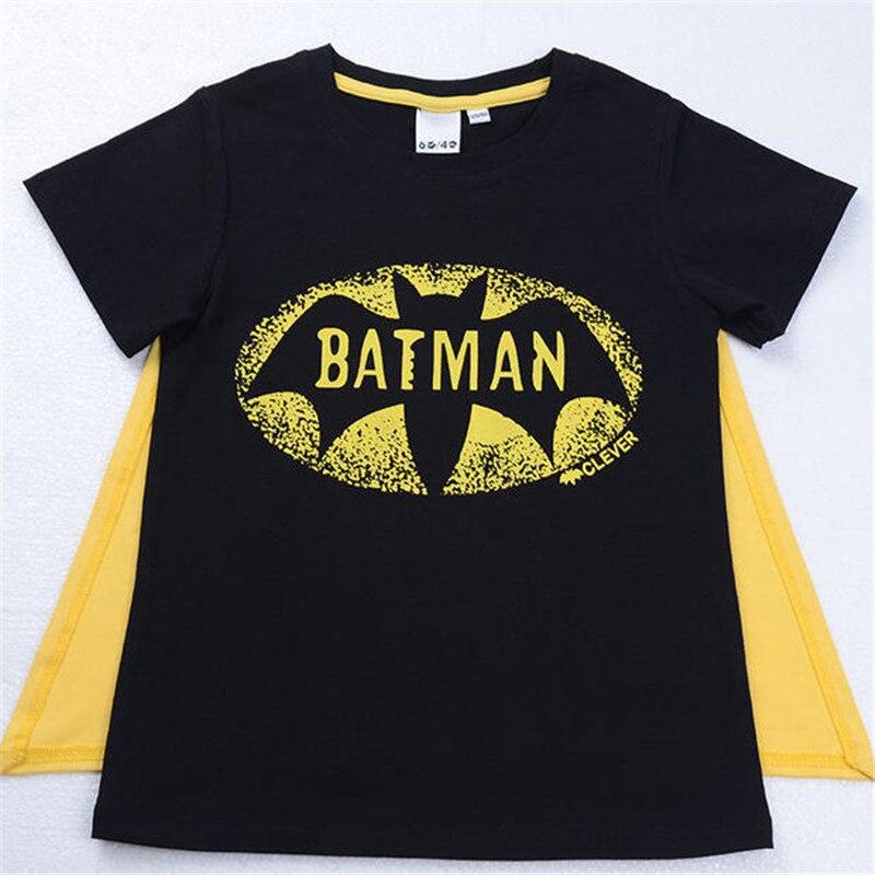 Baby Boys T-shirt Tops With Cape Superman Batman For Baby Girls T-Shirts Fashion Cotton Cartoon Printing Superman Short Sleeve