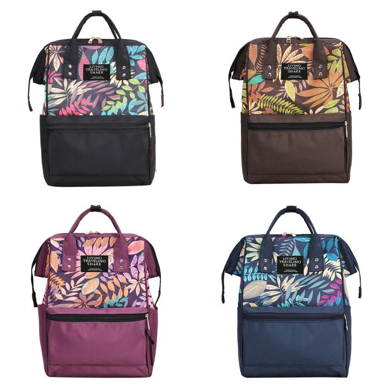Multicolor Tropical Plant Print Travel Backpack Large Capacity Nylon Women School Bags Parents And Children Travel For Leisure