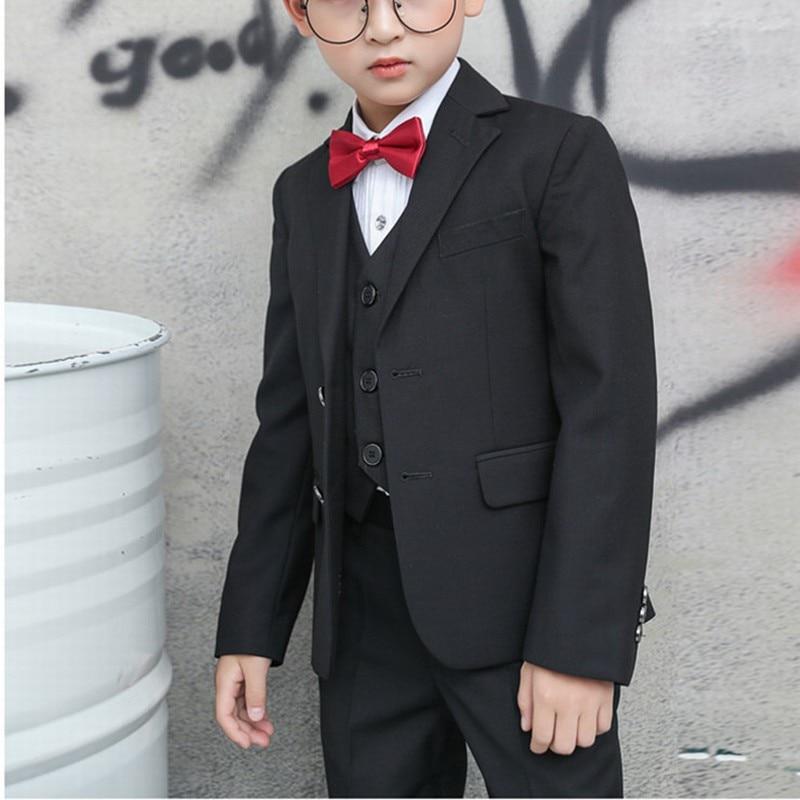 Notch Lapel Kid/'s 3 Piece Navy Wedding Groom Tuxedos Boys Children Party Suits