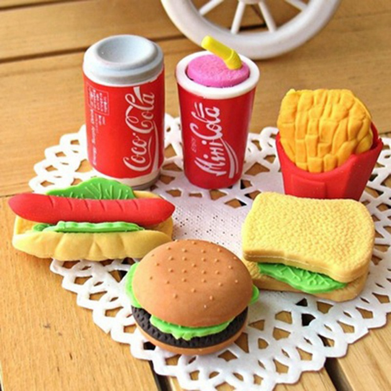 Creative Novelty Cute Kawaii Cake Hamburger Food Drink Coke Eraser Set Stationery School Office Erase Supplies Fruit Kids Gift