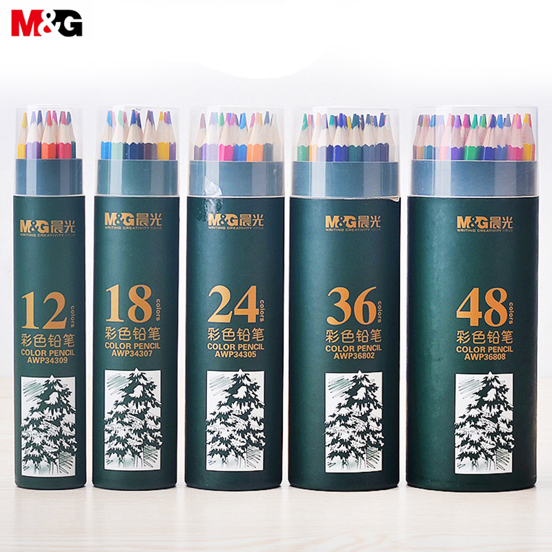 M&G Colored Pencils. Painting. Graffiti. Lead. Barreled Wooden Poles 12/18/24/36/48 Colors Lead Pencil