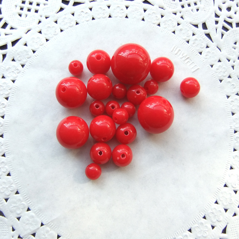 DIY Children Handmade Beaded Bracelet Acrylic Solid Color Bright Red Round Beads Light Bead Ball Modeling Beads